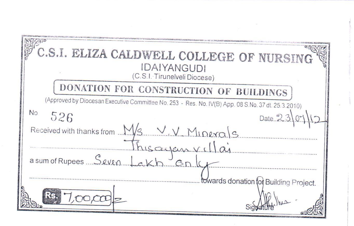 CSI Eliza Caldwell College of Nursing Donation Receipt - 23.7.12